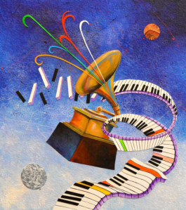 "Marcus Glenn's ""One Nite Outta This World"", the official artwork for the 56th Annual Grammy Awards."